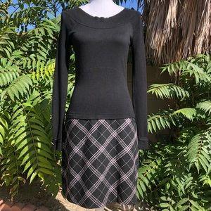 WHBM Long Sleeve Sweater Plaid Skirt Dress SZ 4